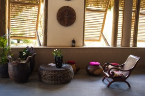lounge area in lobby of Caribbean resort hotel.